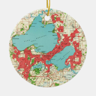 Vintage Map of Madison Wisconsin (1959) Ceramic Ornament