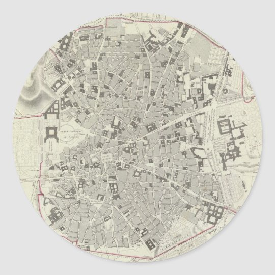 Vintage Map of Madrid Spain (1831) Classic Round Sticker