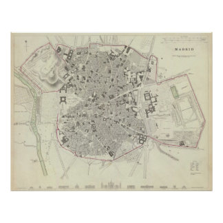 Vintage Map of Madrid Spain (1831) Poster