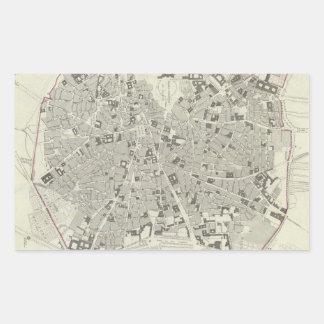 Vintage Map of Madrid Spain (1831) Rectangular Sticker