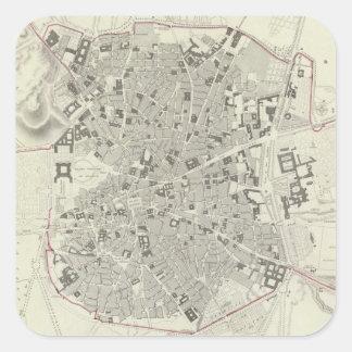 Vintage Map of Madrid Spain (1831) Square Sticker