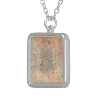 Vintage Map of Madrid Spain (1861) Personalized Necklace