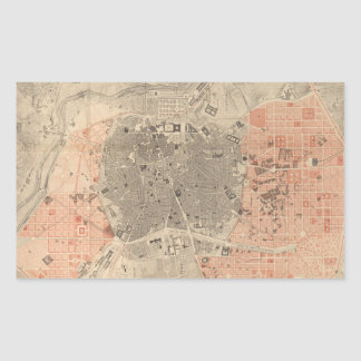 Vintage Map of Madrid Spain (1861) Rectangular Sticker