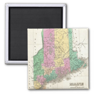 Vintage Map of Maine (1827) 2 Inch Square Magnet