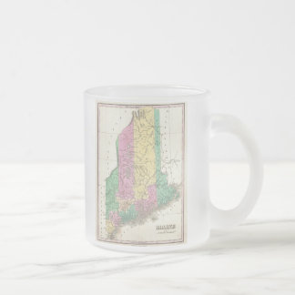 Vintage Map of Maine (1827) Frosted Glass Coffee Mug