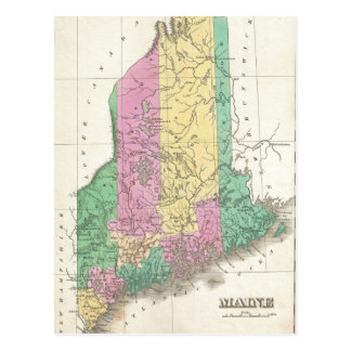 Vintage Map of Maine (1827) Post Cards