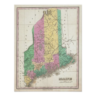 Vintage Map of Maine (1827) Poster