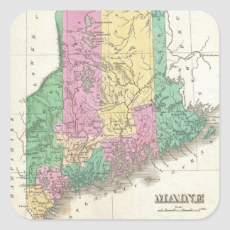 Vintage Map of Maine (1827) Square Sticker