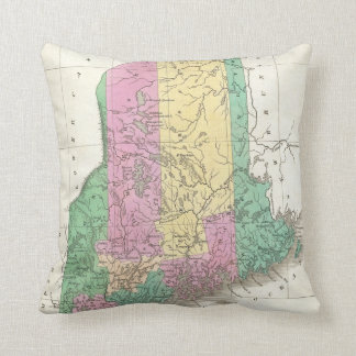 Vintage Map of Maine (1827) Throw Pillow