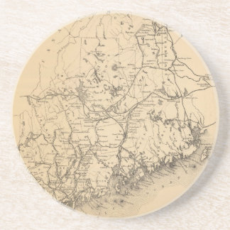 Vintage Map of Maine (1894) Drink Coaster
