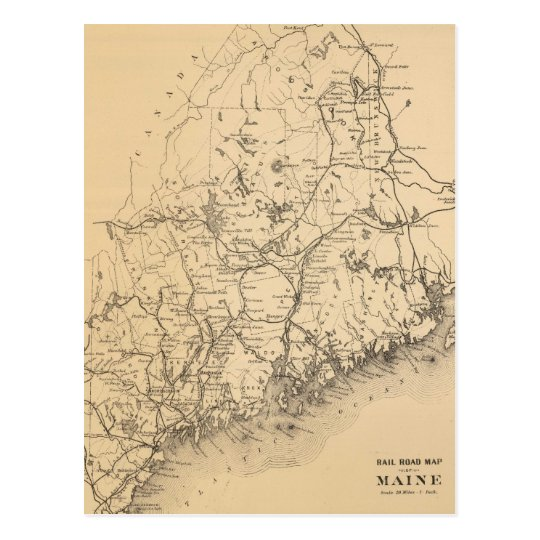 Vintage Map of Maine (1894) Postcard