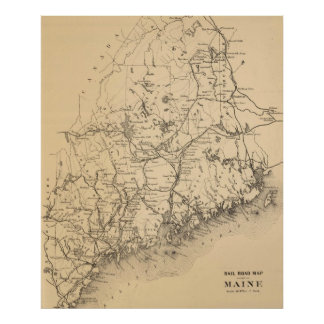 Vintage Map of Maine (1894) Poster
