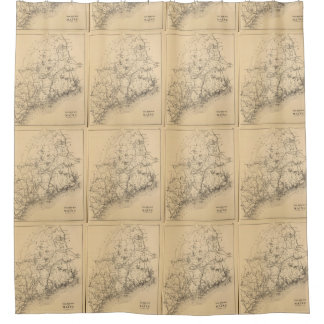 Vintage Map of Maine (1894) Shower Curtain