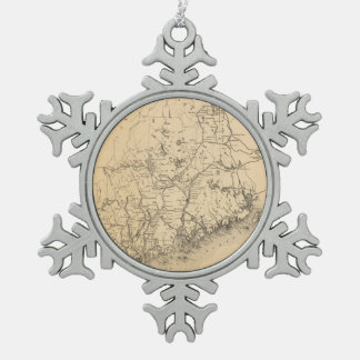 Vintage Map of Maine (1894) Snowflake Pewter Christmas Ornament