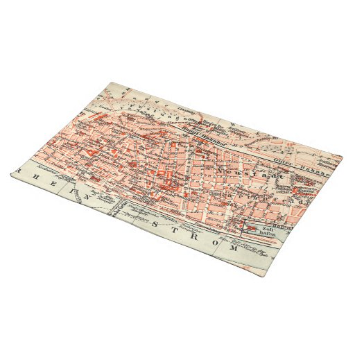 Vintage Map of Mainz Germany (1905) Place Mats