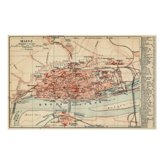 Vintage Map of Mainz Germany (1905) Poster
