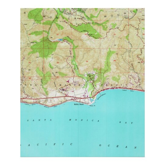 Map Of California Malibu.Vintage Map Of Malibu California 1950 Poster Zazzle Com