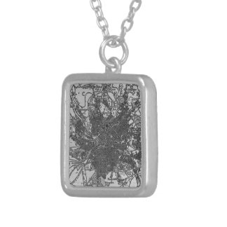 Vintage Map of Manchester England (1911) Square Pendant Necklace