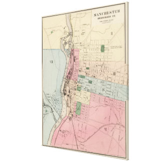 Vintage Map of Manchester New Hampshire (1877) Canvas Print