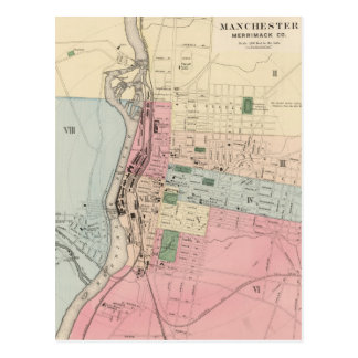 Vintage Map of Manchester New Hampshire (1877) Postcard