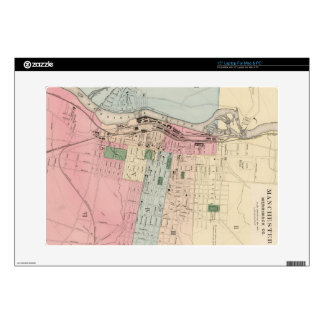 """Vintage Map of Manchester New Hampshire (1877) 15"""" Laptop Decal"""