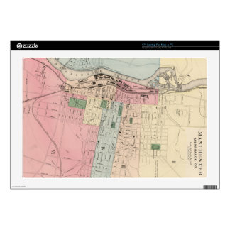 """Vintage Map of Manchester New Hampshire (1877) 17"""" Laptop Skin"""