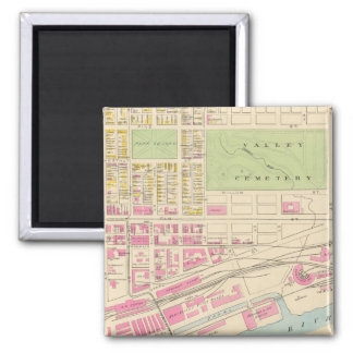 Vintage Map of Manchester NH (1892) (2) 2 Inch Square Magnet