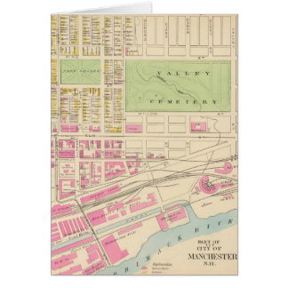 Vintage Map of Manchester NH (1892) (2) Greeting Card