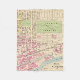 Vintage Map of Manchester NH (1892) (2) Fleece Blanket
