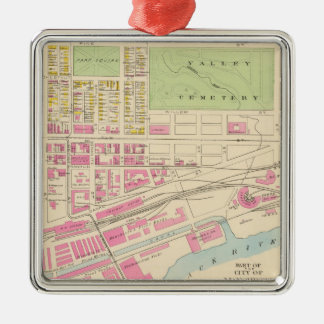 Vintage Map of Manchester NH (1892) (2) Metal Ornament