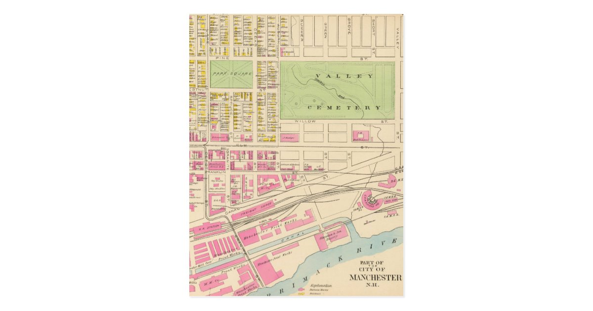 Vintage map of manchester nh 1892 2 postcard zazzle for Craft stores manchester nh