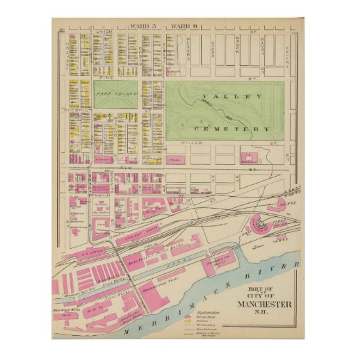 Vintage Map of Manchester NH (1892) (2) Poster
