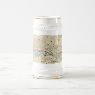 Vintage Map of Manchester NH (1892) Beer Stein