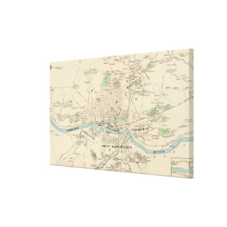Vintage Map of Manchester NH (1892) Canvas Print