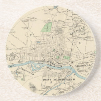 Vintage Map of Manchester NH (1892) Coaster