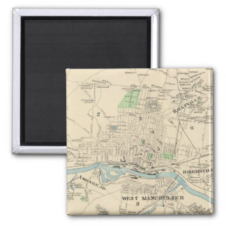 Vintage Map of Manchester NH (1892) 2 Inch Square Magnet