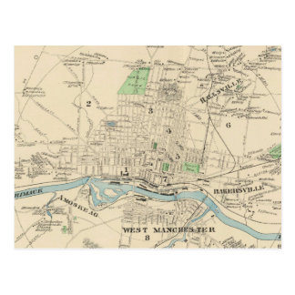 Vintage Map of Manchester NH (1892) Postcard