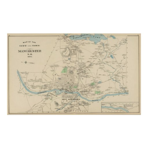 Vintage Map of Manchester NH (1892) Poster