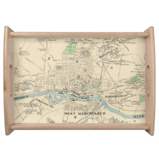 Vintage Map of Manchester NH (1892) Serving Tray
