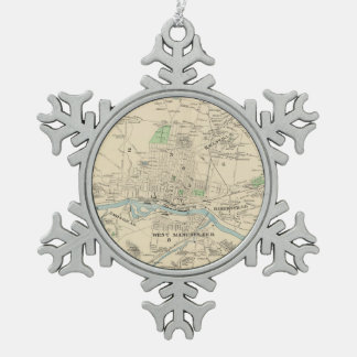 Vintage Map of Manchester NH (1892) Snowflake Pewter Christmas Ornament