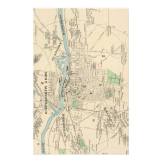Vintage Map of Manchester NH (1892) Stationery