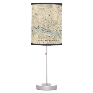 Vintage Map of Manchester NH (1892) Table Lamp