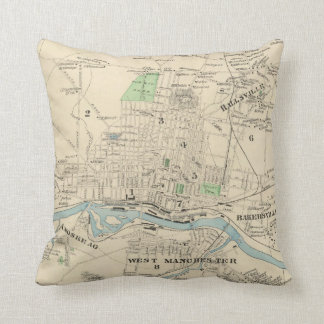 Vintage Map of Manchester NH (1892) Throw Pillow