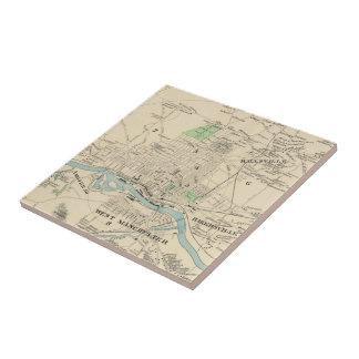 Vintage Map of Manchester NH (1892) Tile