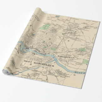 Vintage Map of Manchester NH (1892) Wrapping Paper