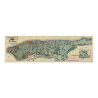 Vintage Map of Manhattan NY Poster