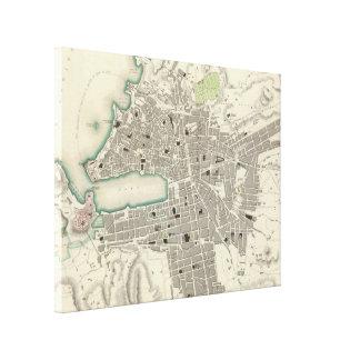 Vintage Map of Marseille France (1840) Canvas Print