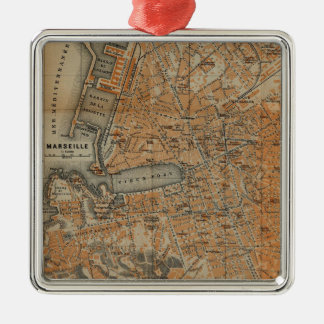 Vintage Map of Marseille France (1914) Metal Ornament