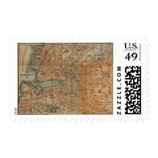 Vintage Map of Marseille France (1914) Postage