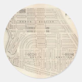 Vintage Map of Marthas Vineyard (1873) Classic Round Sticker